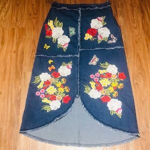 V Cristina Embroidered Denim Blue Skirt